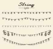 Set drawn string lights ement vector illustration
