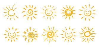 Set of drawn sun icons - vector. Set of drawn sun icons - stock vector Royalty Free Stock Photos