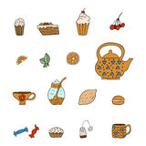 Set drawn tea icons. On white background stock illustration