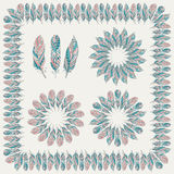 Set of Drawn Tribal Feathers Royalty Free Stock Images