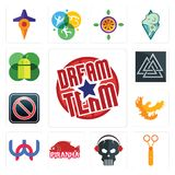 Set of dream team, scissors, skull with headphone, piranha, wn, phoenix, restricted entry, valknut, mobile os a icons. Set Of 13 simple  icons such as dream team Royalty Free Stock Photography