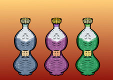 set Drei Flaschen Getränke Auch im corel abgehobenen Betrag Lizenzfreies Stockbild