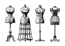 Set of dress form. Vector black-and-white hand drawn illustration of mannequins set in vintage engraved style. Old fashion dummy, dress-stand with bustle Royalty Free Stock Image