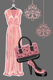 Set of dress,shoe, handbag with Paisley pattern. The composition of pink silk party dress , handbag  and high heeled shoes with Paisley pattern. Vector  Fashion Stock Photo