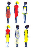 Set of dresses and fashion models Royalty Free Stock Image