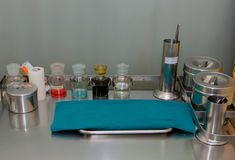 set of dressing often used supplies in a medical for cleaning wo Stock Images