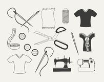 Set dressmaking emblematy, odznaki, etykietki Obrazy Stock
