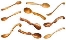 Set drewniane łyżki rzeźbił od różnorodnych drewien Zdjęcie Royalty Free