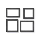 Set drewniane czerni ramy dla fotografii lub obrazki na ścianie z cieniem ilustracji