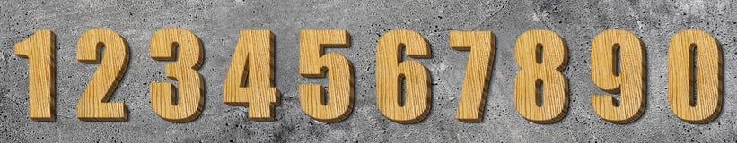 Set drewniane liczby Zdjęcie Royalty Free