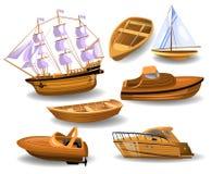 Set drewniane łodzie i statki Zdjęcie Royalty Free