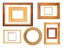 Set drewniane ramy odizolowywać Obraz Royalty Free
