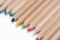 Set drewniani kolorów ołówki odizolowywający na bielu Obraz Royalty Free