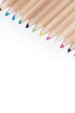 Set drewniani kolorów ołówki odizolowywający na bielu Zdjęcie Stock