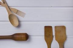 Set drewniani Kuchenni narzędzia Zdjęcia Royalty Free