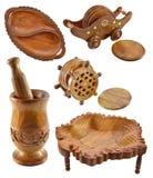 Set drewniani naczynia Zdjęcie Stock