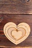 Set drewniani serca z tekst przestrzenią Obraz Royalty Free