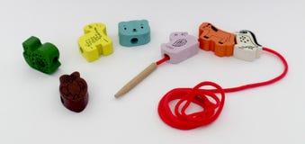 Set drewniani zabawek zwierzęta Obraz Royalty Free