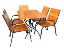 Set drewniany ogrodowy meble stół, krzesła odizolowywający na bielu i Fotografia Royalty Free
