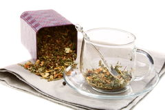 Set of dried herbs, fruits and spices in tea cup. Royalty Free Stock Photography