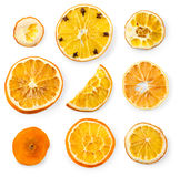 Set of dried slices and half a slice of orange and lemon, Royalty Free Stock Photos
