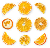 Set of dried slices and half a slice of orange and lemon, isolated on white Stock Photography