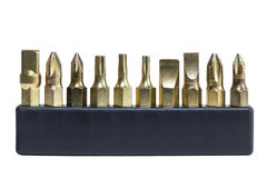 Set of drill bits in a black holder Stock Photo