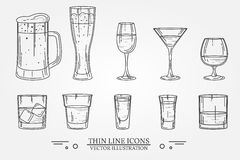 Set drink alcohol  glass for beer, whiskey, wine, tequila, cognac, champagne, brandy, cocktails, liquor. Vector illustration isola. Ted on white background Royalty Free Stock Photo