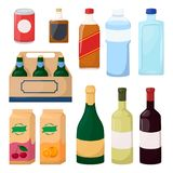 Set of drink and alcohol product. Bottle of water, beer, wine, juice. Cartoon vector. Illustration royalty free illustration