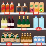 Set of drink and alcohol product on supermarket shelves. Bottle of water, beer, wine, juice. Cartoon vector. Illustration vector illustration