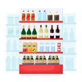 Set of drink and alcohol product on supermarket shelves. Food store interior. Bottle of water, beer, wine, juice. Cartoon vector. Illustration stock illustration