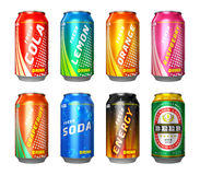 Set of drink cans. Set of color metal drink cans with cola, lemon, orange, raspberry, grapefruit, soda, energy drink and beer isolated on white background Stock Photos