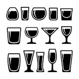 Set of drink glasses icons. Set of different 14 drink glasses icons Royalty Free Stock Photos