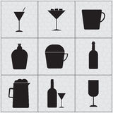 Set of drink icon Silhouettes Stock Images
