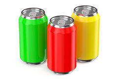 Set of drink metallic cans Stock Photography