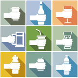 Set of drink. Set of various drink hold in hand Royalty Free Stock Photography