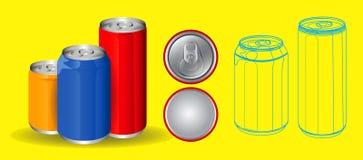 Set of drinking soda water in aluminium can. stock illustration