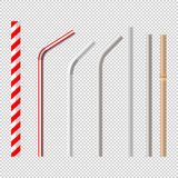 Set of drinking straws. Top view flat lay set of different drinking straws from retro classic disposable striped plastic to the modern reusable modern glass Stock Illustration