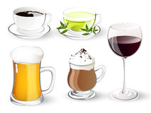 Set with drinks. Collectiom of different realistic Drinks Royalty Free Stock Photo