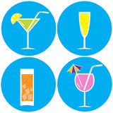 Set of drinks, cocktails. Vector illustration. Icons Stock Images