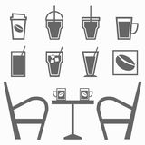 Set of drinks in coffee shop on white background Stock Photos