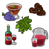 Set of drinks and desserts from red grapes Stock Photography