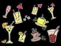 Set of drinks drawings. Set of colorful drinks drawings vector illustration