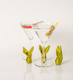 Set of drinks, drink decorated with olives nad pepper, bunny nap Stock Photos