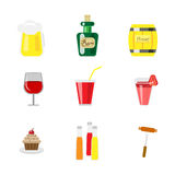 Set of drinks and food icons Stock Photo