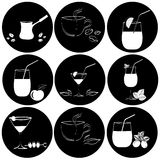 Set of drinks in glasses Royalty Free Stock Images