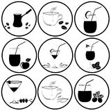 Set of drinks in glasses Stock Images
