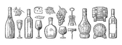 Set drinks made from grapes. Wine, brandy, champagne. Bottle, glass, barrel, cheese, barrel, bunch of grapes with berry and leaf. Vintage black engraving vector illustration