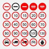 Set drogowi znaki, ostrzeżenie lub zabraniać, Zdjęcia Royalty Free