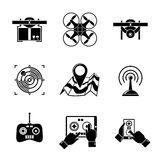 Set of drone icons - with box, top view Royalty Free Stock Photos